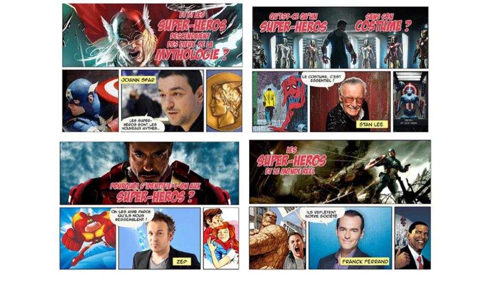 DERRIERE LE MASQUE DES SUPER-HEROS - les 4 vignettes