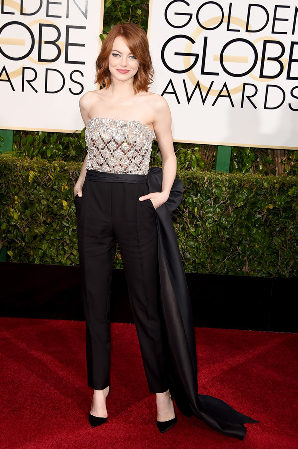 EMMA STONE - red carpet Golden Globes 2015 - copyright Go with the Blog