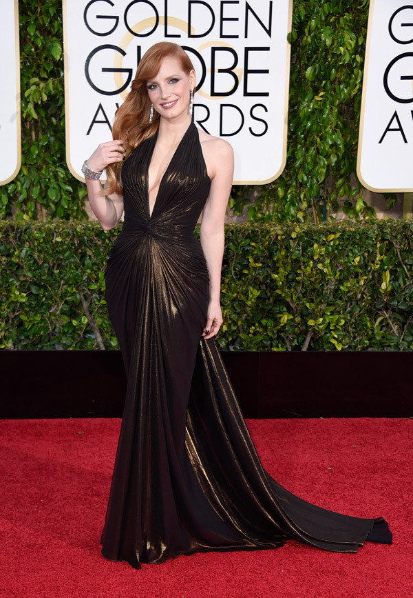 JESSICA CHASTAIN red carpet golden globes 2015 - Go with the Blog