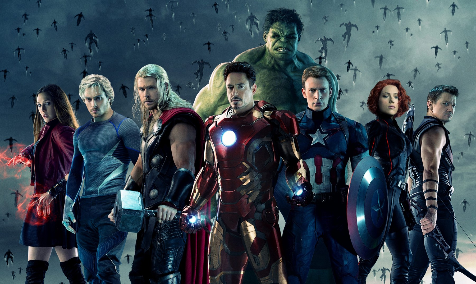 AVENGERS AGE OF ULTRON - image BIS des personnages au complet Robert Downey Jr Scarlett Jeremie Renner - Go with the Blog