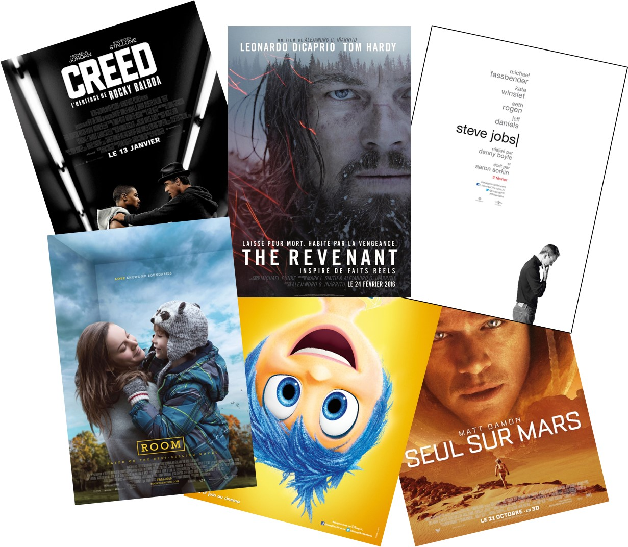GOLDEN GLOBES 2016 - Palmarès Films CREED THE REVENANT ROOM STEVE JOBS INSIDE OUT VICE-VERSA