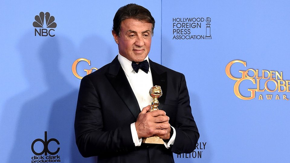 GOLDEN GLOBES 2016 - Sylvester Stallone receiving his Golden Globes for CREED 2