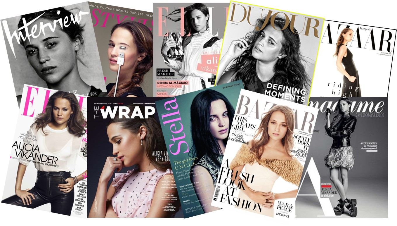 Alicia Vikander - All Covers Magazines 2001 2016 Elle Magazine Vogue Cover Harpers Bazar Madame Figaro Vikander - Go with the Blog