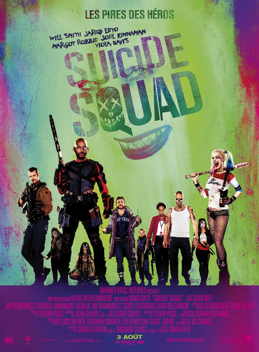 SUICIDE SQUAD - AFFICHE OFFICIELLE FRANCE film Warner Bros FR 2016 The Joker Harley Quinn - Go with the Blog